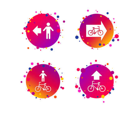 Pedestrian road icon. Bicycle path trail sign. Cycle path. Arrow symbol. Gradient circle buttons with icons. Random dots design. Vector Çizim