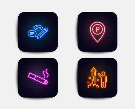 Neon set of Keywords, Parking and Smoking icons. Fireworks sign. Pencil with key, Park pointer, Cigarette. Party pyrotechnic. Neon icons. Glowing light banners. Vector