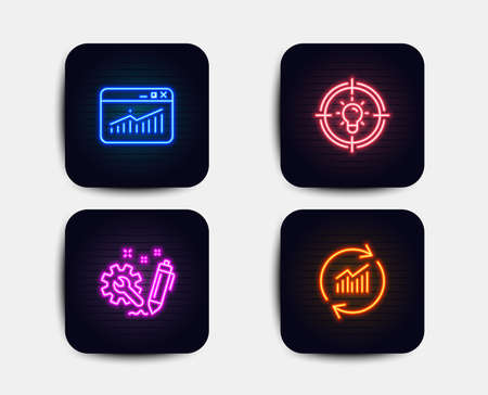 Neon glow lights. Set of Website statistics, Engineering and Idea icons. Update data sign. Data analysis, Construction, Solution. Sales statistics.  Neon icons. Glowing light banners. Vector Illustration