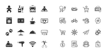 Set of Hotel services icons. Taxi, Wifi internet and Swimming pool signs. Coffee, Wine bottle and Air conditioning symbols. Paper plane, report and shopping cart icons. Group of people. Vector Stock Illustratie