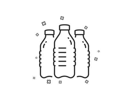 Water bottles line icon. Still aqua drink sign. Liquid symbol. Geometric shapes. Random cross elements. Linear Water bottles icon design. Vector Ilustração