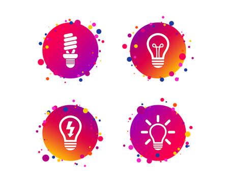 Light lamp icons. Fluorescent lamp bulb symbols. Energy saving. Idea and success sign. Gradient circle buttons with icons. Random dots design. Vector