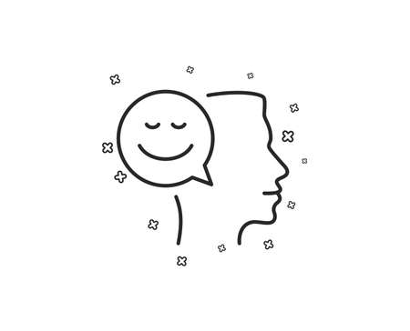 Positive thinking line icon. Human communication symbol. Smile chat sign. Geometric shapes. Random cross elements. Linear Good mood icon design. Vector Çizim