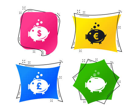 Piggy bank icons. Dollar, Euro and Pound moneybox signs. Cash coin money symbols. Geometric colorful tags. Banners with flat icons. Trendy design. Vector