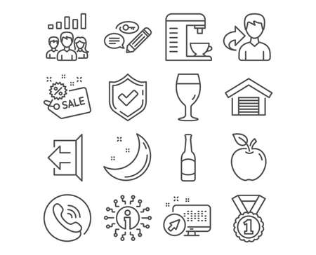 Set of Coffee machine, Beer glass and Sign out icons. Parking garage, Sale and Best rank signs. Teamwork results, Keywords and Beer symbols. Cappuccino machine, Brewery beverage, Logout. Vector Illustration