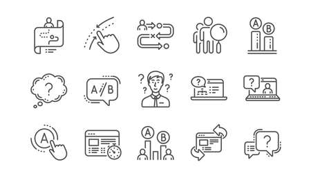UX line icons. AB testing, Journey path map and Question mark. Quiz test linear icon set.  Vector