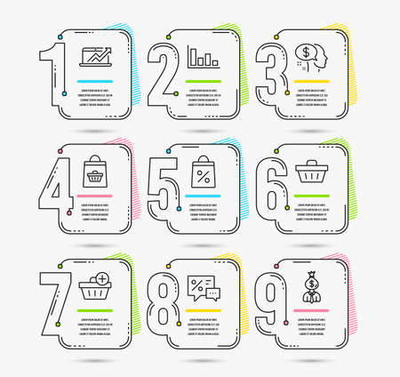 Timeline set of Pay, Online buying and Histogram icons. Add purchase, Shopping basket and Shopping bag signs. Discounts, Sales diagram and Manager symbols. Vector Иллюстрация