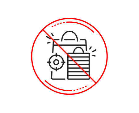 No or stop sign. Seo shopping bags line icon. Search engine optimization sign. Analytics symbol. Caution prohibited ban stop symbol. No  icon design.  Vector
