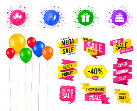 Balloons party. Sales banners. Birthday party icons. Cake and gift box signs. Air balloons and fireworks symbol. Birthday event. Trendy design. Vector 일러스트