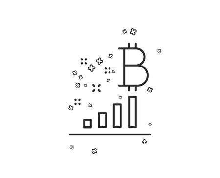 Bitcoin graph line icon. Cryptocurrency analytics sign. Crypto money symbol. Geometric shapes. Random cross elements. Linear Bitcoin graph icon design. Vector