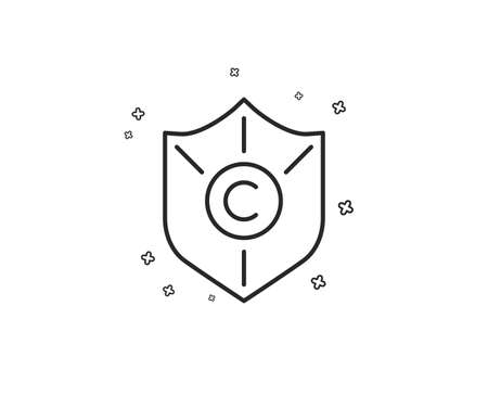 Copyright protection line icon. Copywriting sign. Shield symbol. Geometric shapes. Random cross elements. Linear Copyright protection icon design. Vector