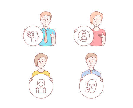 People hand drawn style. Set of Person, Woman and Writer icons. Uv protection sign. Edit profile, Girl profile, Copyrighter. Ultraviolet.  Character hold circle button. Man with like hand. Vector Ilustração