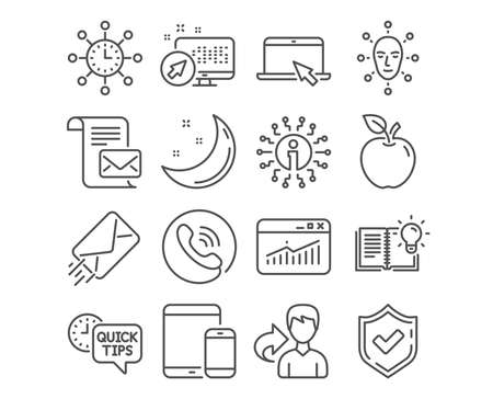 Set of Quick tips, E-mail and Face biometrics icons. Mail letter, Website statistics and Product knowledge signs. Mobile devices, World time and Portable computer symbols. Vector