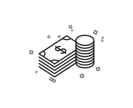 Cash money line icon. Banking currency sign. Dollar or USD symbol. Geometric shapes. Random cross elements. Linear Savings icon design. Vector