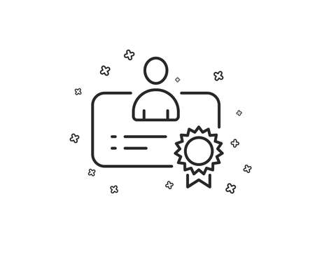 Certificate line icon. Business management sign. Best manager symbol. Geometric shapes. Random cross elements. Linear Certificate icon design. Vector  イラスト・ベクター素材