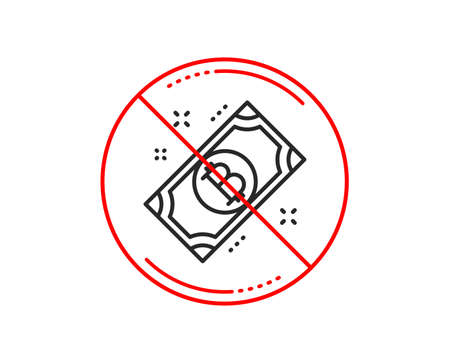 No or stop sign. Bitcoin line icon. Cryptocurrency cash sign. Crypto money symbol. Caution prohibited ban stop symbol. No  icon design.  Vector Ilustracja