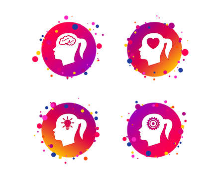 Head with brain and idea lamp bulb icons. Female woman think symbols. Cogwheel gears signs. Love heart. Gradient circle buttons with icons. Random dots design. Vector