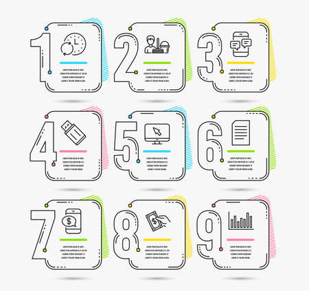 Infographic template with numbers 9 options. Set of Internet, Usb flash and Document icons. Cleaning service, Pay money and Update time signs. Phone payment, Phone messages and Bar diagram symbols