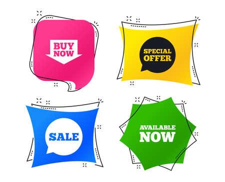 Verkaufssymbole. Sonderangebot Sprechblasensymbole. Kaufen Sie jetzt Pfeileinkaufsschilder. Jetzt verfügbar. Geometrische bunte Tags. Banner mit flachen Symbolen. Trendiges Design. Vektor