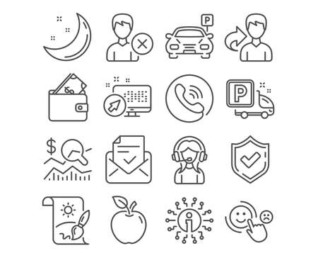 Set of Customer satisfaction, Support and Parking icons. Wallet, Approved mail and Creative painting signs. Truck parking, Check investment and Remove account symbols. Vector