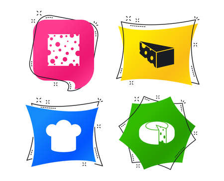 Cheese icons. Round cheese wheel sign. Sliced food with chief hat symbols. Geometric colorful tags. Banners with flat icons. Trendy design. Vector