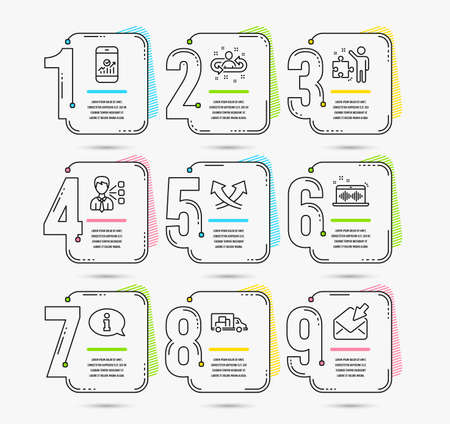 Infographic template with numbers 9 options. Set of Recruitment, Truck transport and Music making icons. Smartphone statistics, Third party and Information signs. Vector