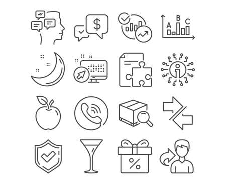 Set of Discount offer, Synchronize and Statistics icons. Messages, Strategy and Search package signs. Survey results, Payment received and Martini glass symbols. Vector  イラスト・ベクター素材