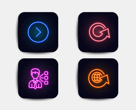 Neon glow lights. Set of Third party, Forward and Reload icons. World globe sign. Team leader, Next direction, Update. Around the world.  Neon icons. Glowing light banners. Vector Illustration