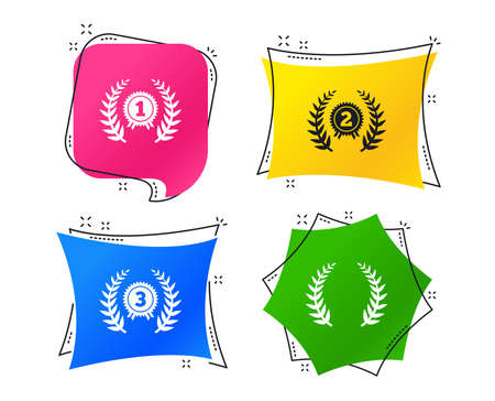 Laurel wreath award icons. Prize for winner signs. First, second and third place medals symbols. Geometric colorful tags. Banners with flat icons. Trendy design. Vector