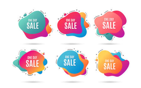 One day Sale. Special offer price sign. Advertising Discounts symbol. Abstract dynamic shapes with icons. Gradient banners. Liquid  abstract shapes. Vector Ilustração