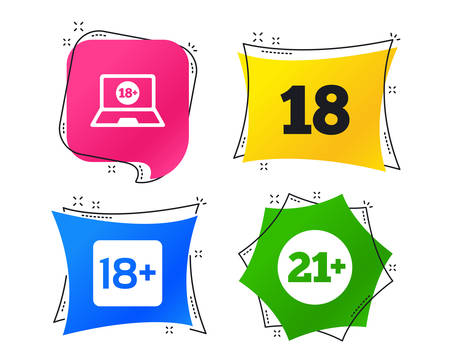 Adult content icons. Eighteen and twenty-one plus years sign symbols. Notebook website notice. Geometric colorful tags. Banners with flat icons. Trendy design. Vector