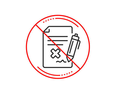 No or stop sign. Reject file line icon. Decline document sign. Delete file. Caution prohibited ban stop symbol. No  icon design.  Vector Illustration