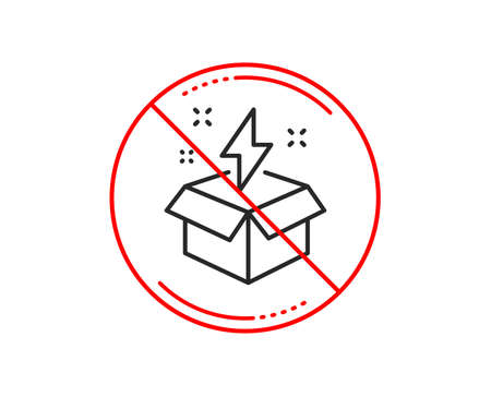 No or stop sign. Out of the box line icon. Creativity sign. Gift box with lightning bolt symbol. Caution prohibited ban stop symbol. No  icon design.  Vector
