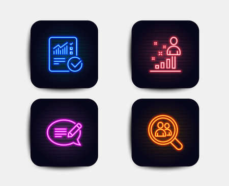 Neon glow lights. Set of Checked calculation, Message and Stats icons. Search employees sign. Statistical data, Speech bubble, Business analysis. Staff analysis.  Neon icons. Glowing light banners Illustration