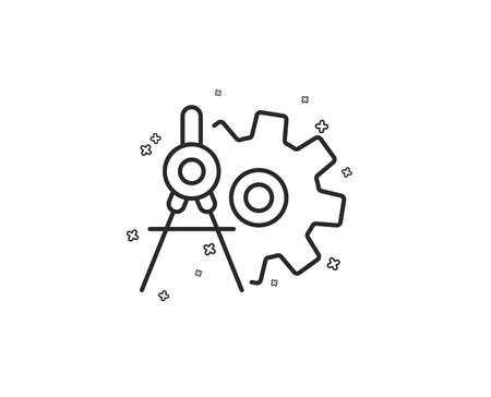 Cogwheel dividers line icon. Engineering tool sign. Cog gear symbol. Geometric shapes. Random cross elements. Linear Cogwheel dividers icon design. Vector  イラスト・ベクター素材