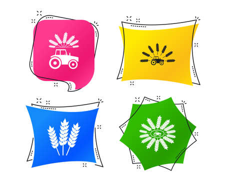 Tractor icons. Wreath of Wheat corn signs. Agricultural industry transport symbols. Geometric colorful tags. Banners with flat icons. Trendy design. Vector Standard-Bild - 124762750