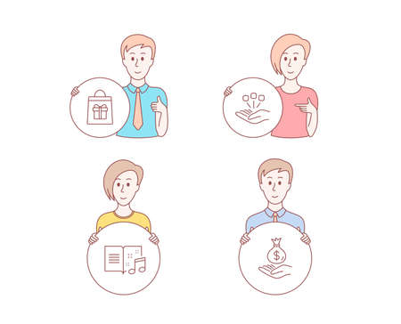 People set of Consolidation, Holidays shopping and Music book icons. Income money sign. Strategy, Gifts bag, Musical note. Savings. Character hold circle button. Man with like hand