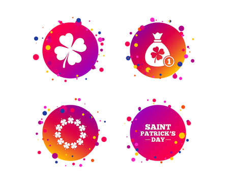 Saint Patrick day icons. Money bag with coin and clover sign. Wreath of quatrefoil clovers. Symbol of good luck. Gradient circle buttons with icons. Random dots design. Vector