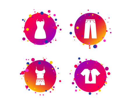 Clothes icons. T-shirt with business tie and pants signs. Women dress symbol. Gradient circle buttons with icons. Random dots design. Vector Illustration