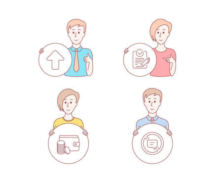 People hand drawn style. Set of Payment method, Rfp and Upload icons. Stop talking sign. Wallet with coins, Request for proposal, Load arrowhead. Do not talk.  Character hold circle button. Vector