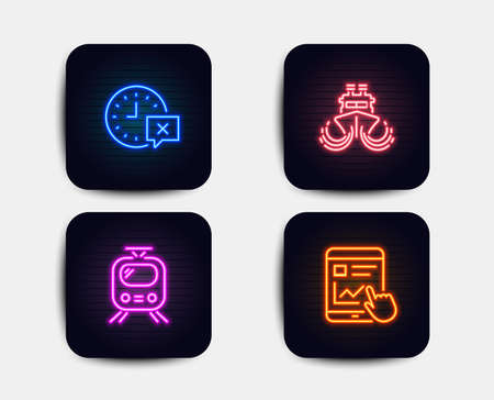 Neon glow lights. Set of Train, Time and Ship icons. Internet report sign. Tram, Remove alarm, Shipping watercraft. Web tutorial.  Neon icons. Glowing light banners. Vector