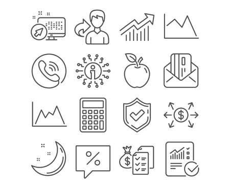 Set of Discount message, Accounting wealth and Demand curve icons. Calculator, Credit card and Line chart signs. Checked calculation, Dollar exchange and Diagram symbols. Vector