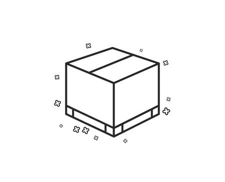Parcel box line icon. Logistics delivery sign. Package tracking symbol. Geometric shapes. Random cross elements. Linear Delivery box icon design. Vector Ilustrace