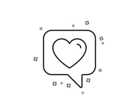 Heart line icon. Favorite like sign. Positive feedback symbol. Geometric shapes. Random cross elements. Linear Heart icon design. Vector