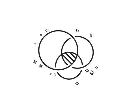 Euler diagram line icon. Eulerian circles sign. Relationships chart symbol. Geometric shapes. Random cross elements. Linear Euler diagram icon design. Vector