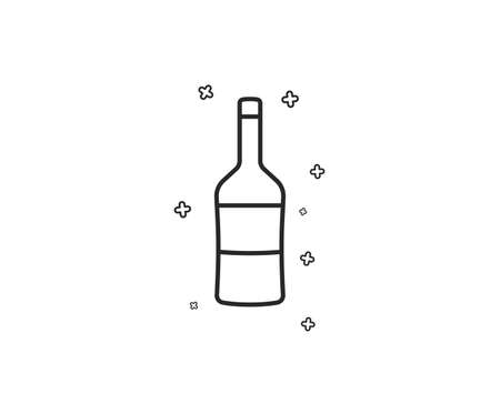 Wine bottle line icon. Merlot or Cabernet Sauvignon sign. Geometric shapes. Random cross elements. Linear Wine icon design. Vector Illustration