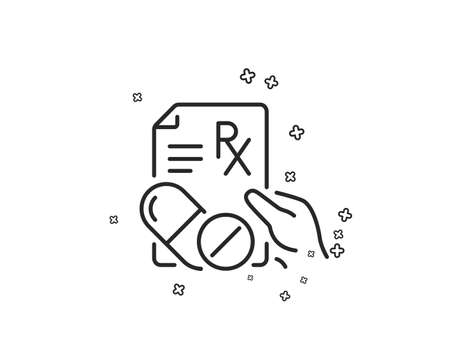 Prescription Rx recipe line icon. Medicine drugs pills sign. Geometric shapes. Random cross elements. Linear Prescription drugs icon design. Vector Vektorové ilustrace