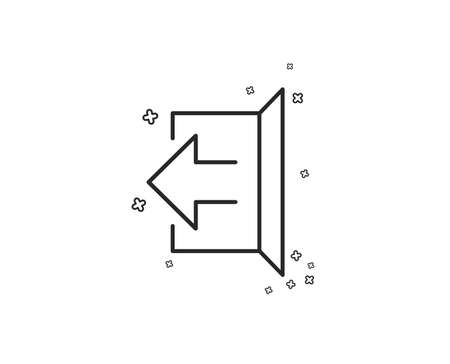 Logout arrow line icon. Sign out symbol. Navigation pointer. Geometric shapes. Random cross elements. Linear Sign out icon design. Vector
