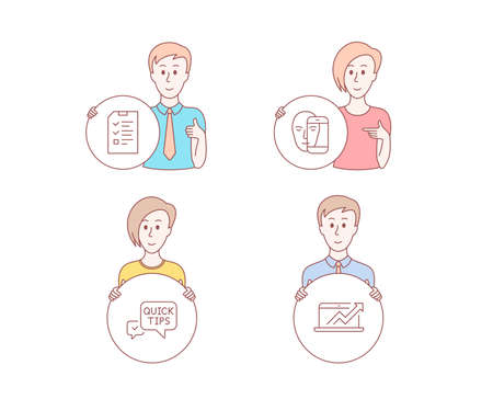 People hand drawn style. Set of Face biometrics, Interview and Quick tips icons. Sales diagram sign. Facial recognition, Checklist file, Helpful tricks. Sale growth chart. Vector