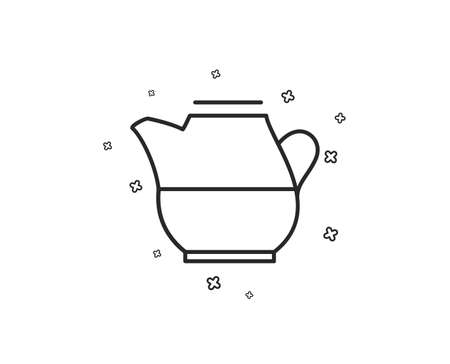 Milk jug for coffee icon. Fresh drink sign. Beverage symbol. Geometric shapes. Random cross elements. Linear Milk jug icon design. Vector